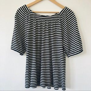 [Talbots] Classic Black & White Stripe Top